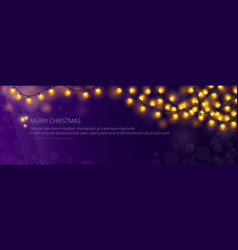 Banner with festive gold glowing garlands vector