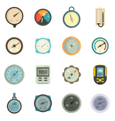 Barometer icons set flat isolated vector