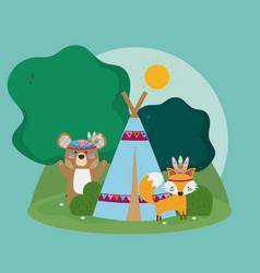 Bear and fox cute hippie cartoon vector