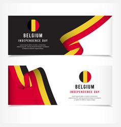 Belgium independence day celebration banner set vector