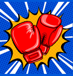 boxing gloves pop art style vector image