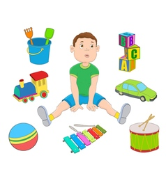 Boy and toys vector