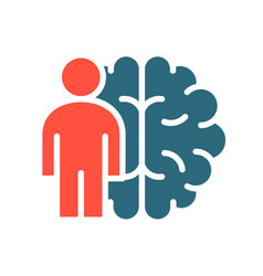 Brain with man colored icon main organ the vector