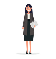 Businesswoman in white blouse and black skirt suit vector