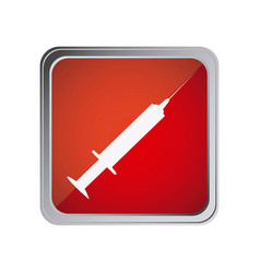 Button with syringe with background red vector