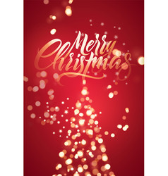 Calligraphic christmas card with glowing lights vector