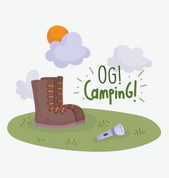 camping flashlight boot vacations activity vector image