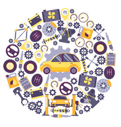 car service icons in round frame composition vector image