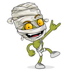 Cartoon funny green egyptian mummy boy character vector
