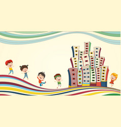 children playing at city vector image