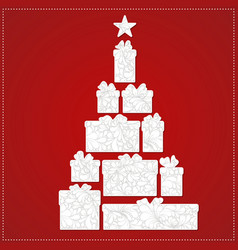 christmas tree made from gift box and bow vector image