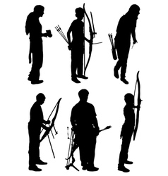 Collection of silhouettes of people of archers vector image