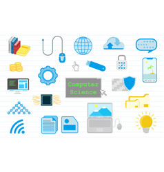 computer science education with with various vector image