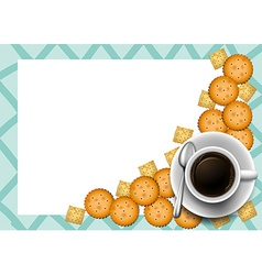 Cookies and coffee on border vector image