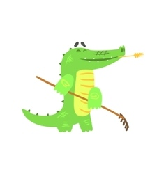 Crocodile gardening with rake humanized green vector