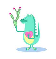 cute crocodile with heart vector image