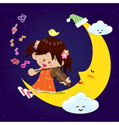 Cute Girl play music with moon at night vector