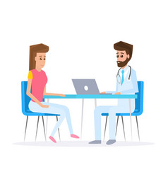 doctor and patient in flat style vector image