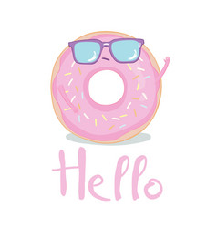 donut with pink glaze donut icon in flat style vector image