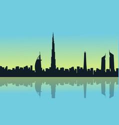 Dubai skyline with reflection scenery silhouettes vector