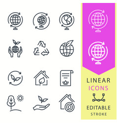 ecology - line icon set editable stroke vector image