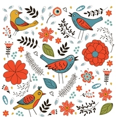 Elegant pattern with flowers and birds vector