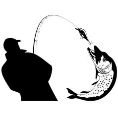Fishing fisherman and pike vector
