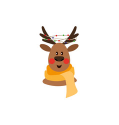 Flat christmas reindeer in red scarf vector
