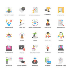 Flat icons collection of success and opport vector