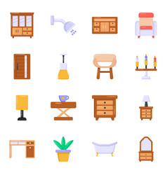 Flat icons of home furnishing vector