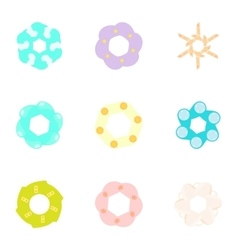 Flowers icons set cartoon style vector