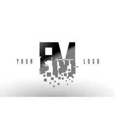 Fm f m pixel letter logo with digital shattered vector