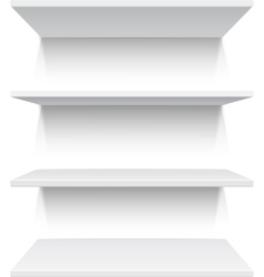 Four white realistic shelves vector