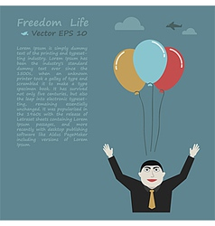 Freedom life businessman concept vector