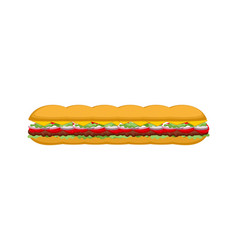 French sandwich isolated long baguette burger vector