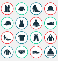 garment icons set collection of beanie briefs vector image