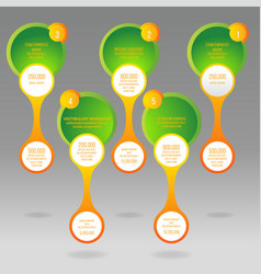 glass rounds info-graphic with yellow and green vector image