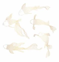 golden fish set hand drawing vector image