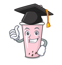 Graduation raspberry bubble tea character cartoon vector