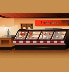 Grocery store meat section vector