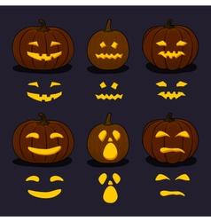 Halloween Pumpkins on Dark Background vector