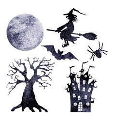 halloween watercolor silhouettes set vector image