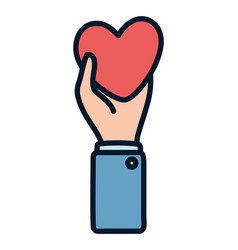 hand holding heart medical charity and donation vector image
