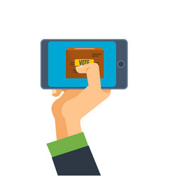 hand holds phone smartphone with application for vector image