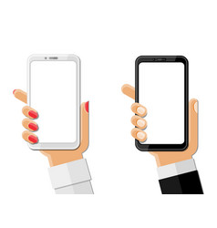 hands holding smartphones isolated on white vector image