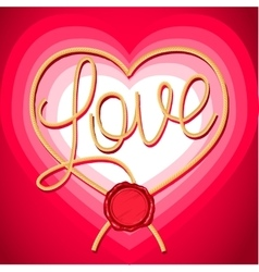 Heart and inscription love rope vector