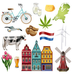 holland netherlands travel icon set vector image