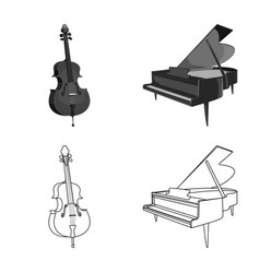 Isolated object of music and tune symbol set of vector