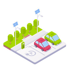 isometric electric car parking concept vector image