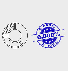 linear pie chart icon and grunge 0000 vector image